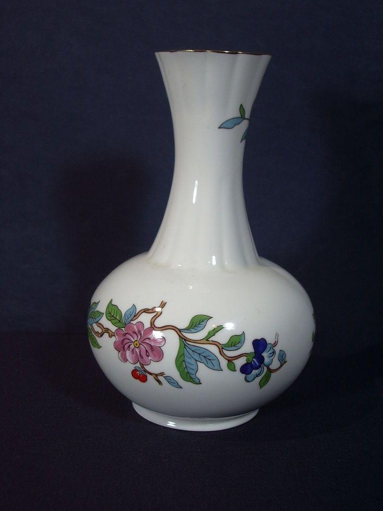 Aynsley Pembroke Vase White Bone China England Bird Flowers Bud Vase
