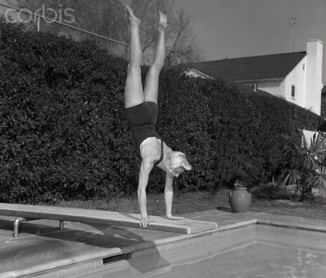 Doris Day Diving into Pool
