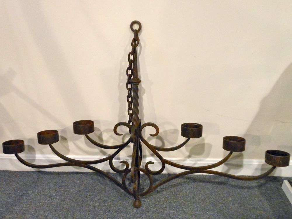An unusual iron candelabra chandelier 42515 chestnut hill an unusual iron candelabra chandelier aloadofball Image collections