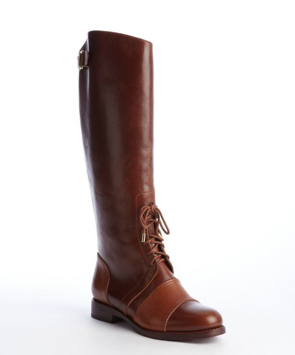 Rachel Zoe : brown buckle detailed leather 'Georgia' classic calf boot : style # 326675902