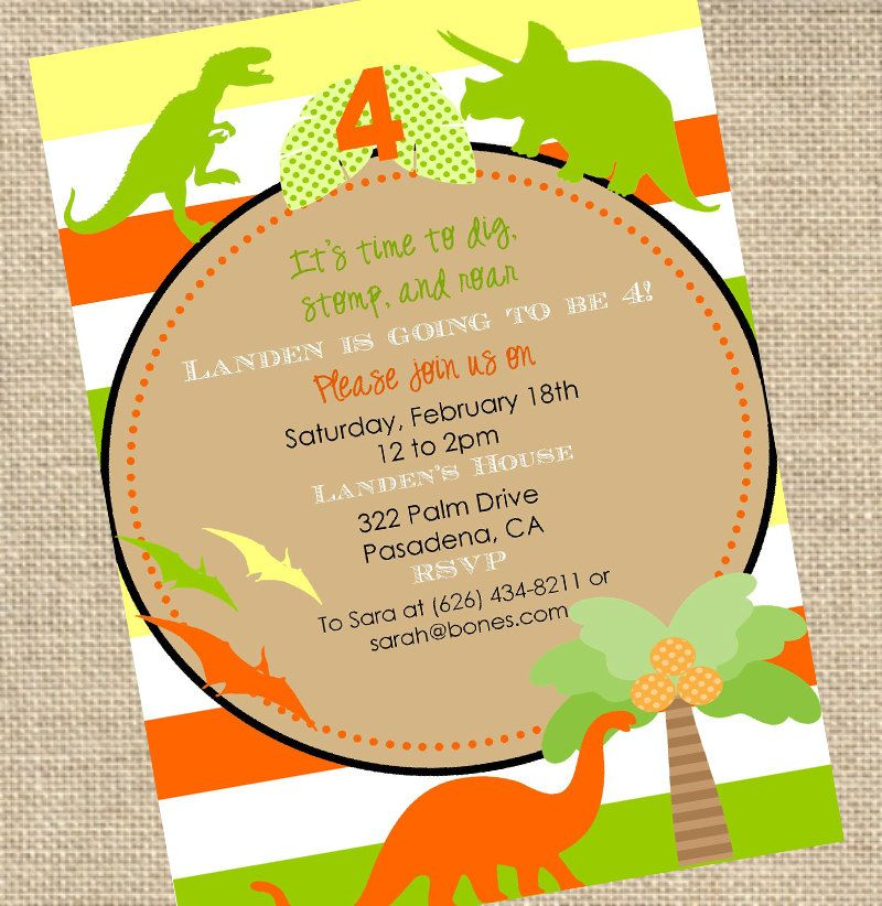 Dinosaur Birthday Invitation - PRINTABLE - By A Blissful Nest ...