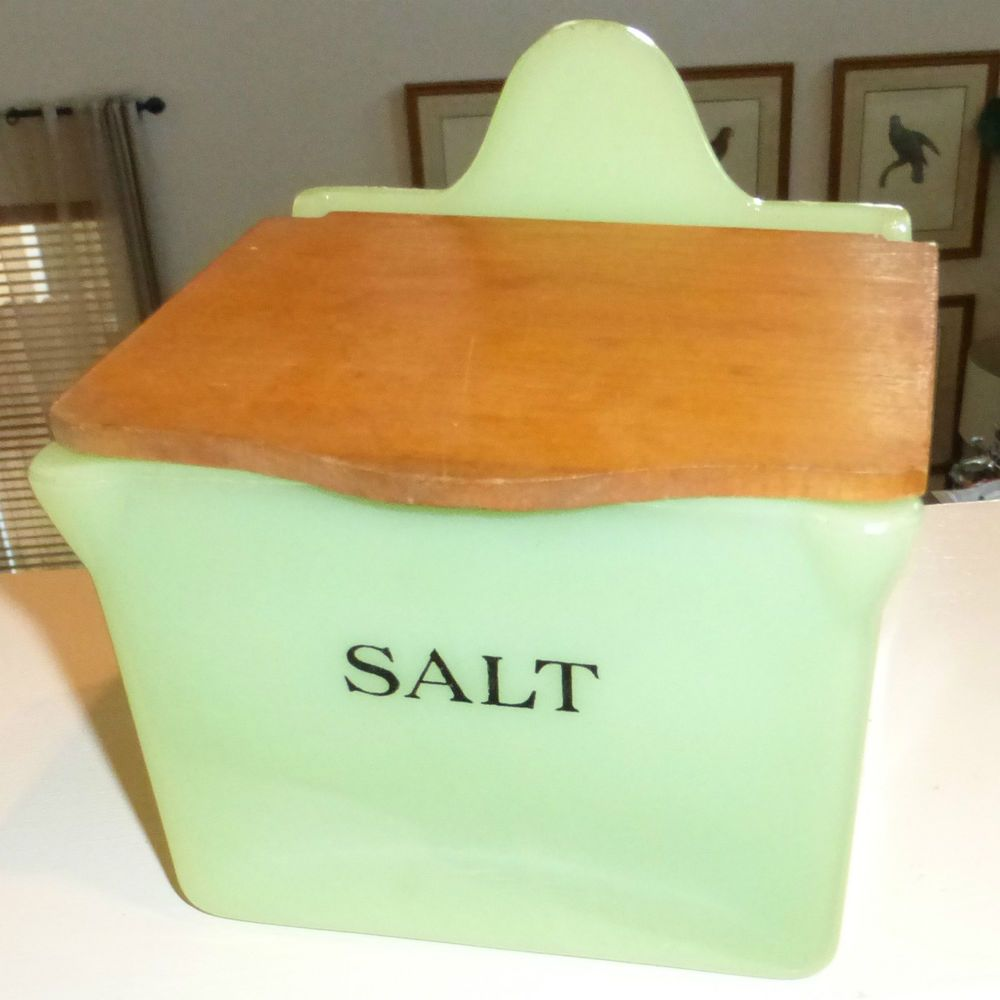 RARE Jeannette Jadite Salt Box With Wood Lid ~ Jadeite Green ~ 1930's Americana