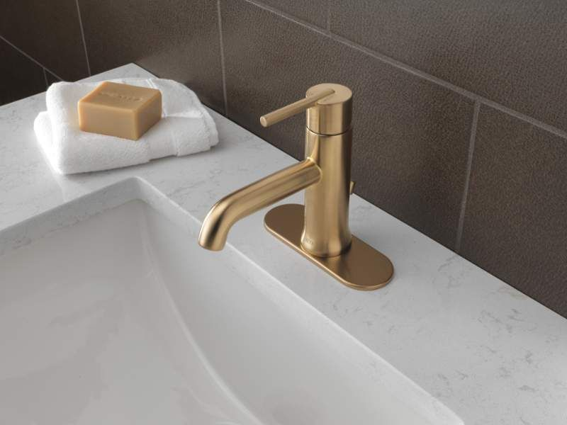 Delta LFCZMPU Champagne Bronze Trinsic Single Hole Bathroom - Champagne bronze bathroom faucet for bathroom decor ideas