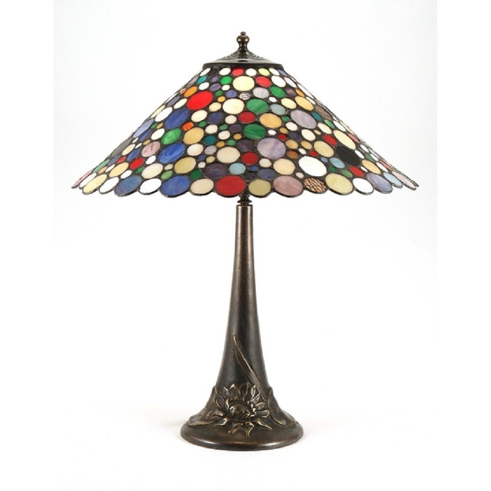 Traditional Solid Antique Brass Table Light Given Modern Twist With Spotted  Tiffany Glass Shade. Quality Tiffany Lighting With A Sense Of Fun.