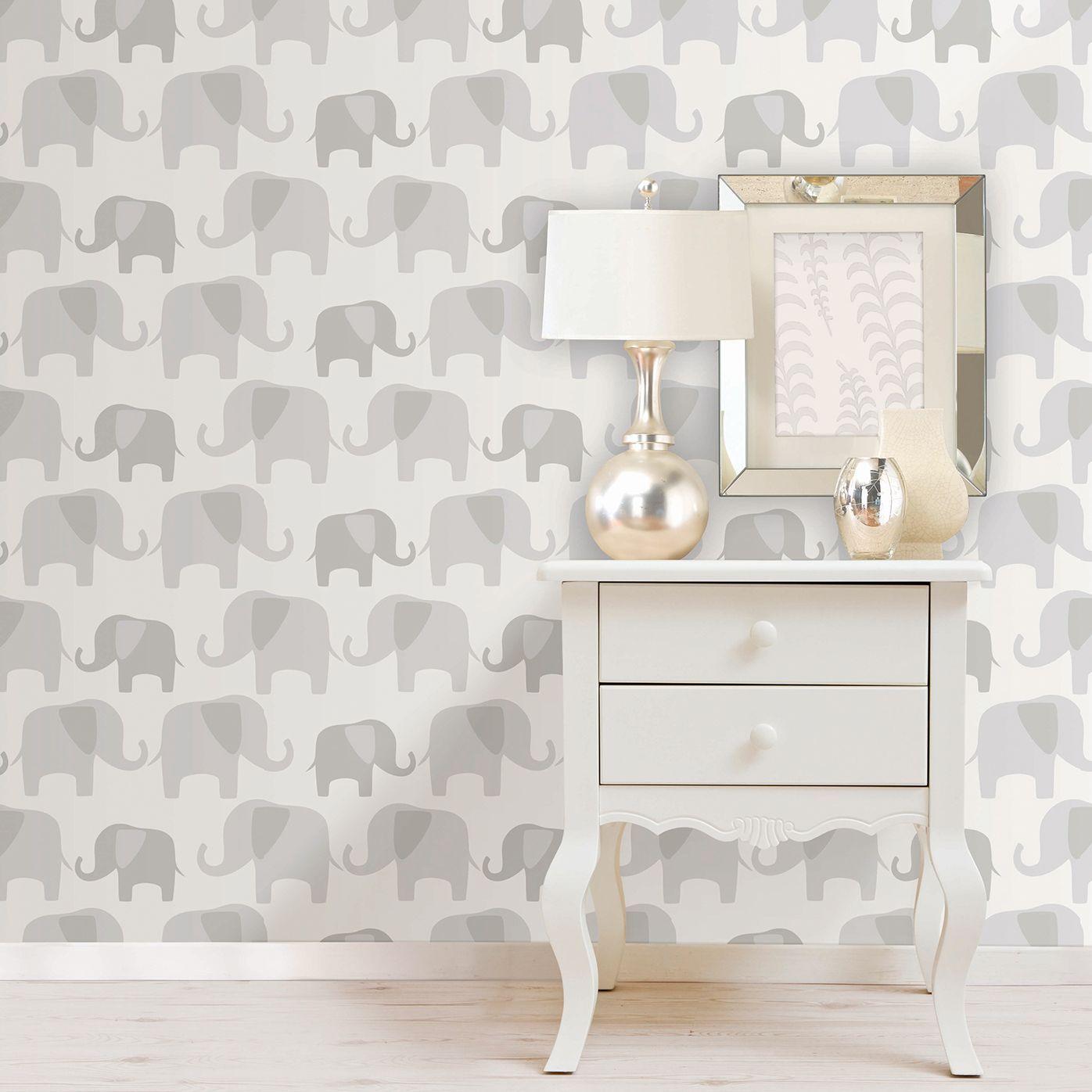 Wallpops Elephant Parade Grey L Stick Wallpaper 5 5m W 52cm Departments Diy At B Q