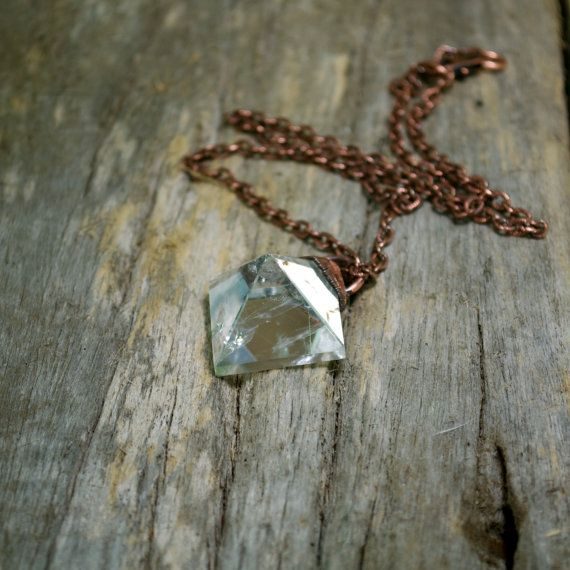 Clear QUARTZ PYRAMID Crystal COPPER Necklace Pendant Healing Jewelry by AZenLife www.AZen.Life