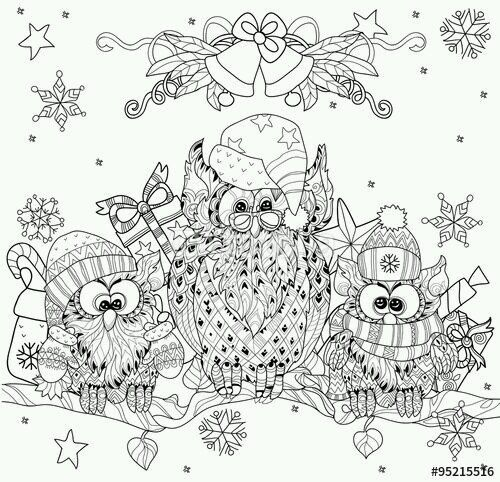 cute christmas owls colouring page a inspirations birds owls owl coloring pages doodle. Black Bedroom Furniture Sets. Home Design Ideas