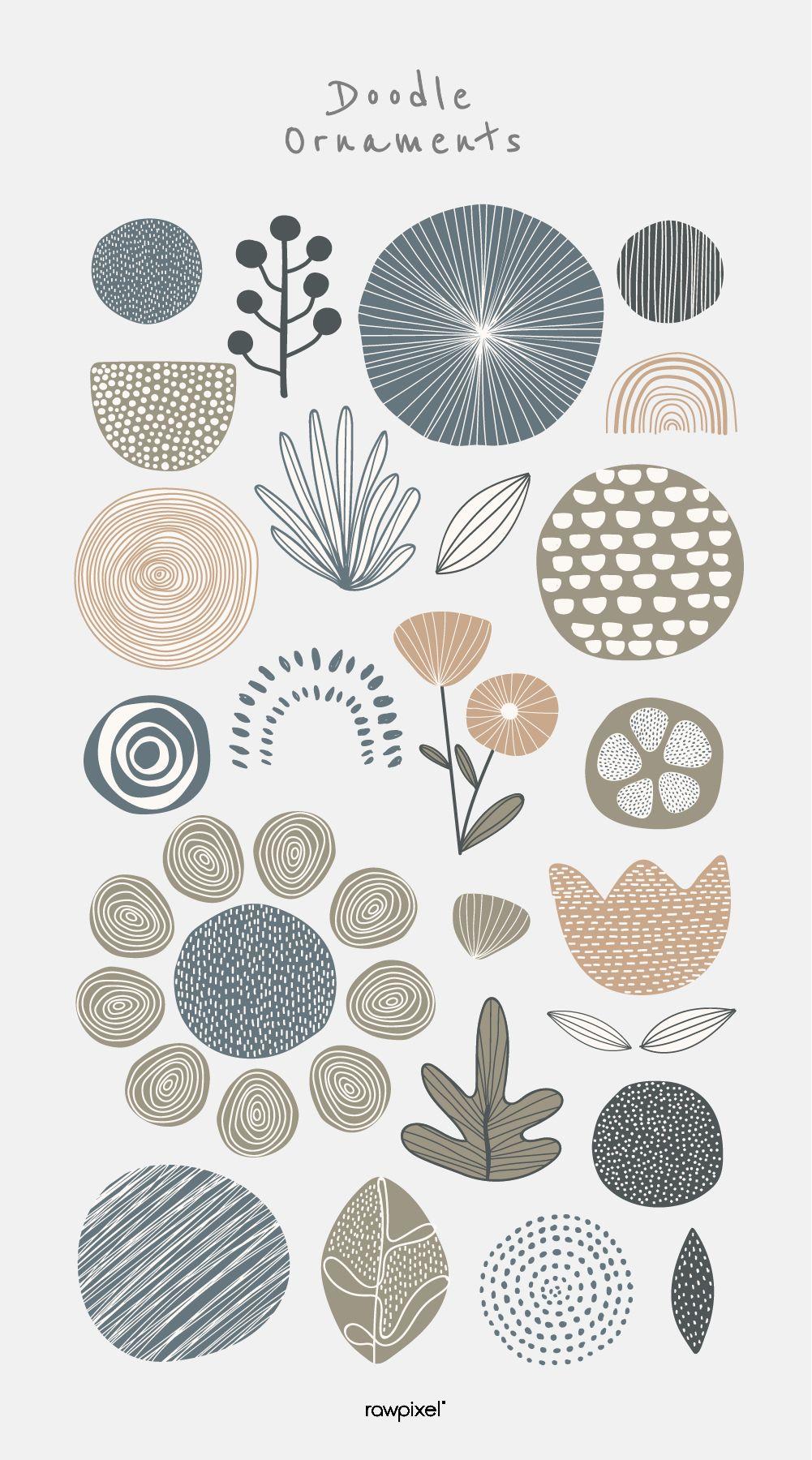 Natural patterned doodle background vector #flowerpatterndesign