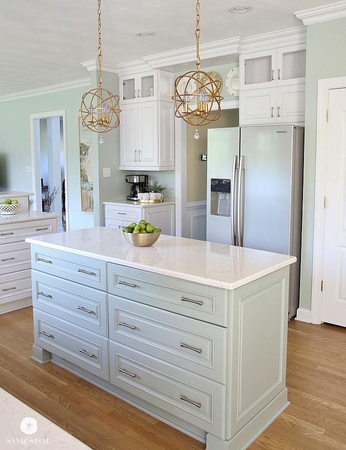 Coastal Kitchen Makeover the reveal Oysters Cambria quartz