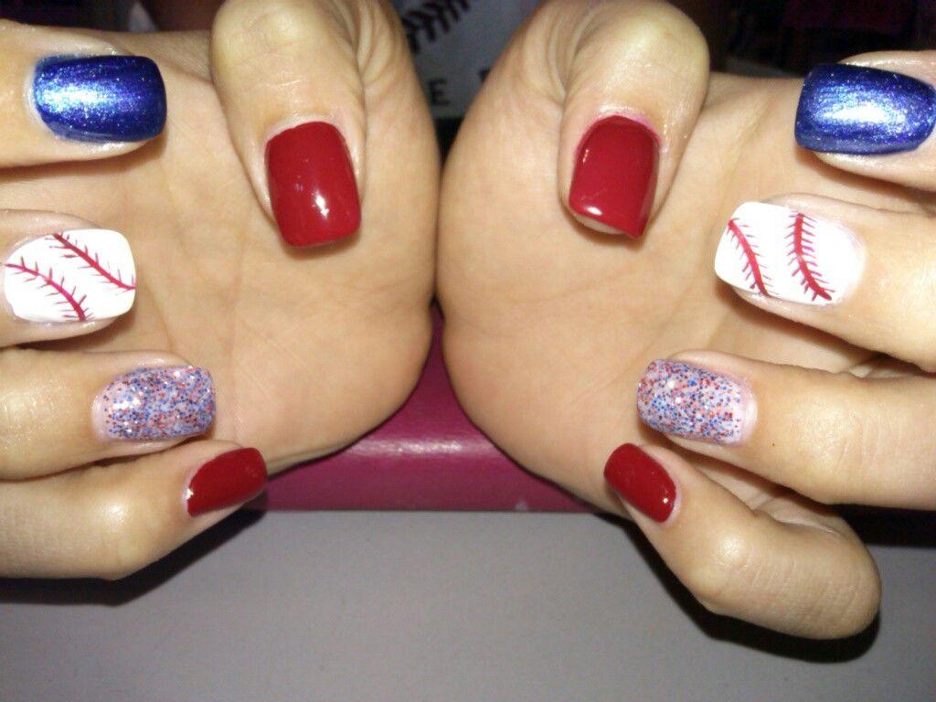 Baseball nails! Acrylic nails with glitter acrylic on ring fingers ...