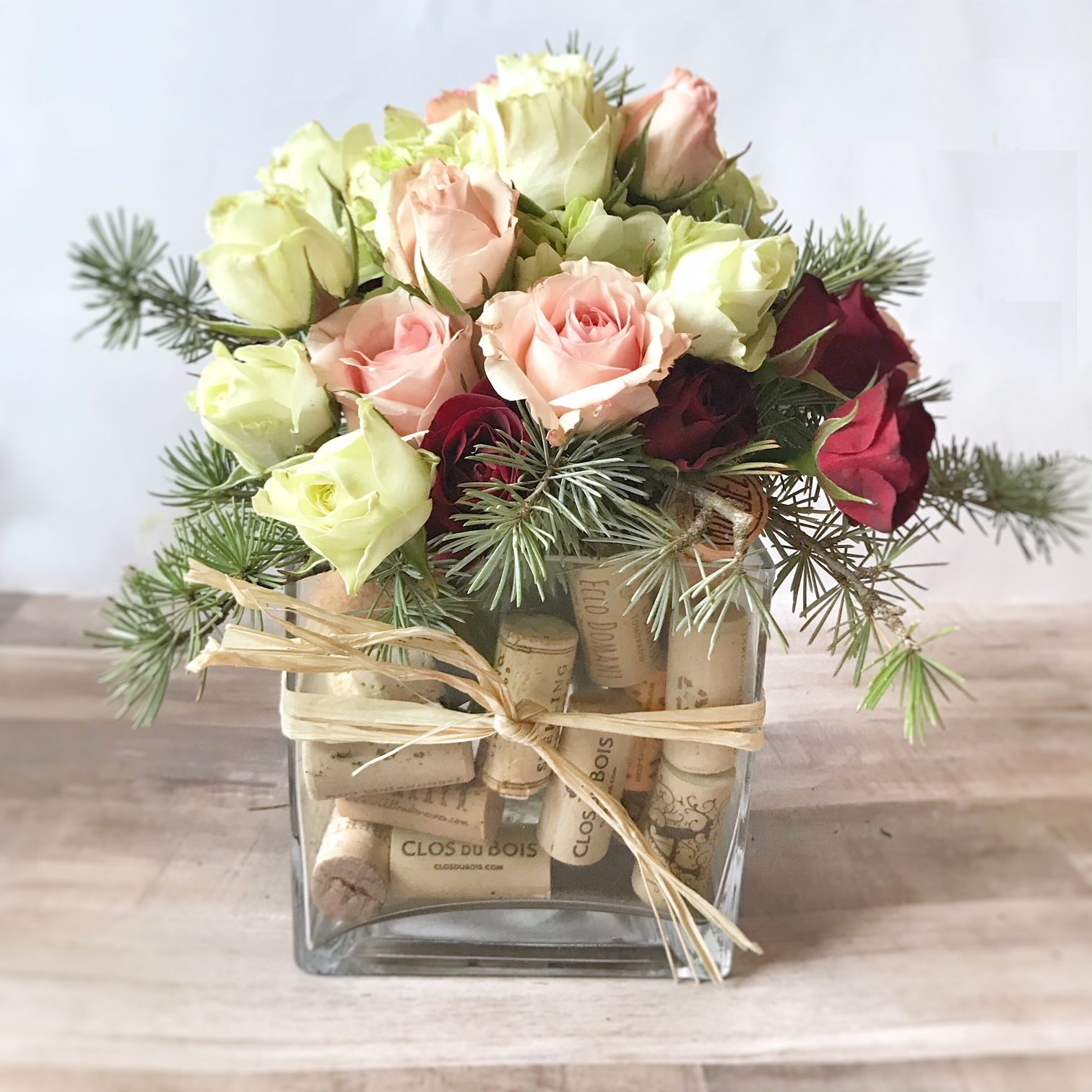 Wine and Roses - Wine Cork Vase - Wine Flower Arrangement | Flower ...