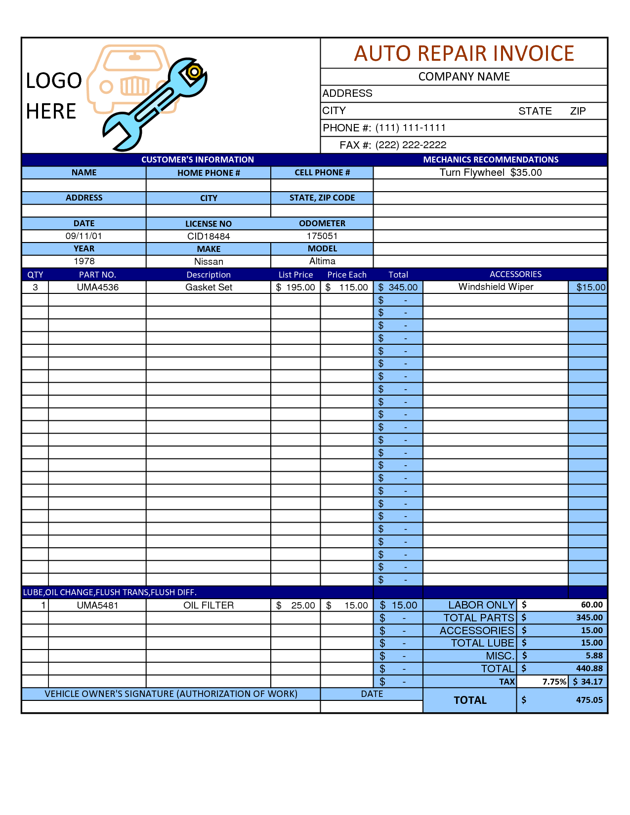 Mechanic shop invoice scope of work template pinteres for Florida auto repair invoice