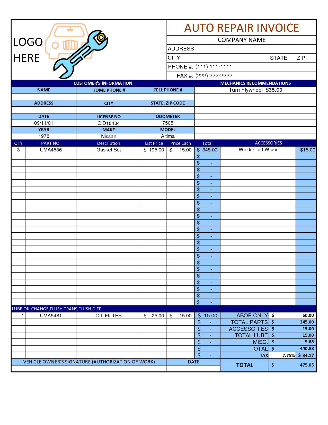 Mechanic Shop Invoice