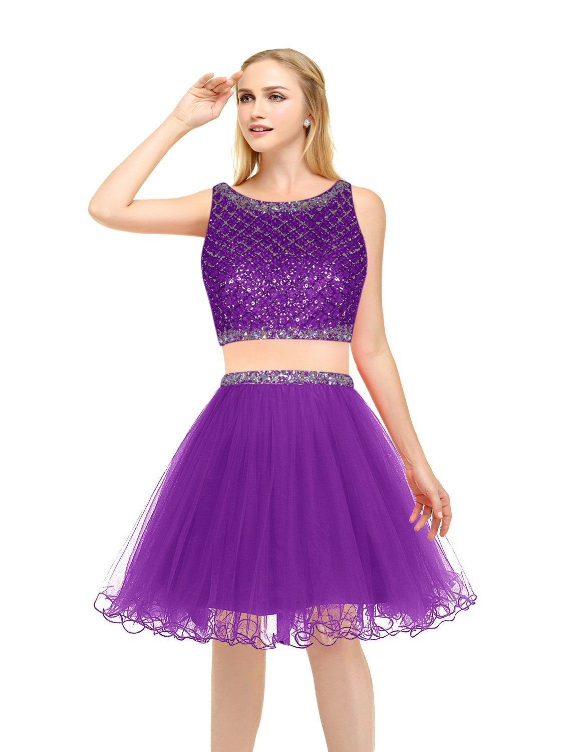 Bbonlinedress Kurz Tüll Cocktail-kleider Two Piece Beaded Homecoming ...