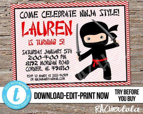 Editable Red Ninja Birthday Party Invitation Printable Template