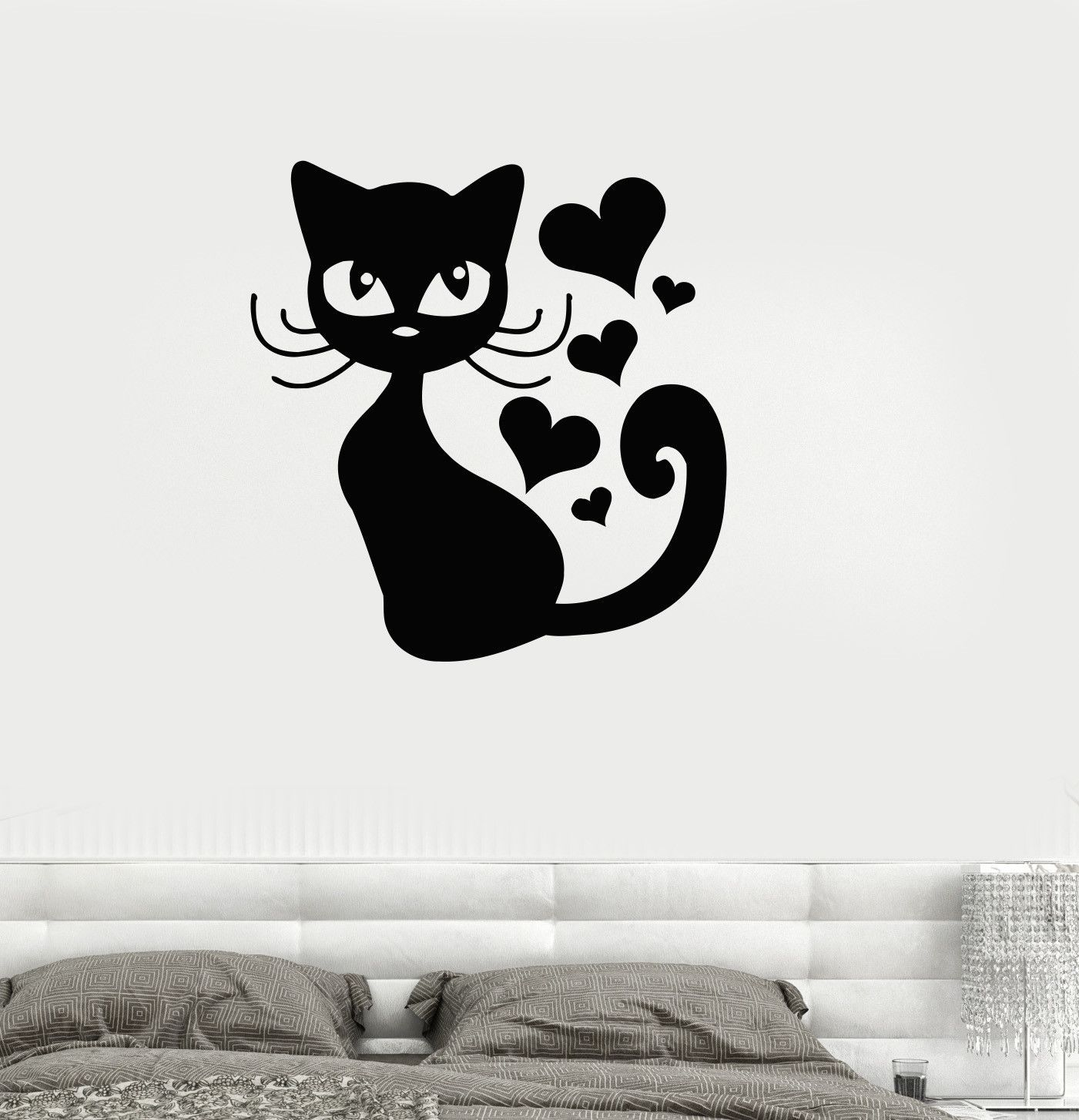 Vinyl Decal Cat Kitten Love Romantic Pet Bedroom Decor Wall - Vinyl decal cat pinterest