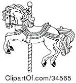 Clipart Illustration Of A Carousel Horse On A Spiraling Pole by C Charley-Franzwa