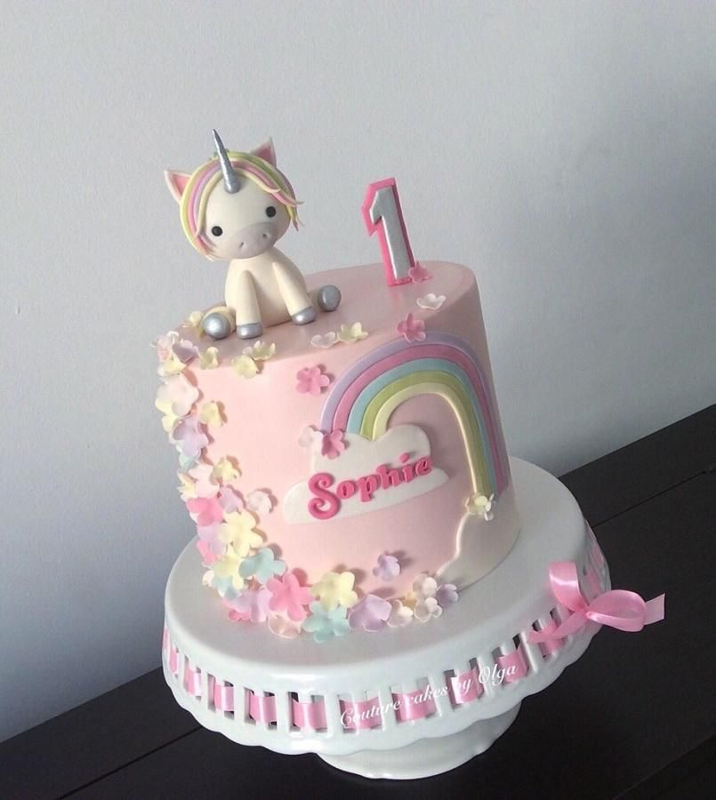 Baby Unicorn Bright Birthday CakesBaby 1st