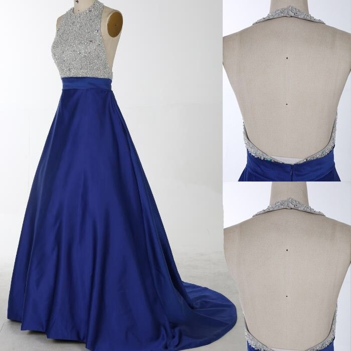 New Arrival Silver Sparkly Top and Royal Blue Bottom O-Neck Prom ...