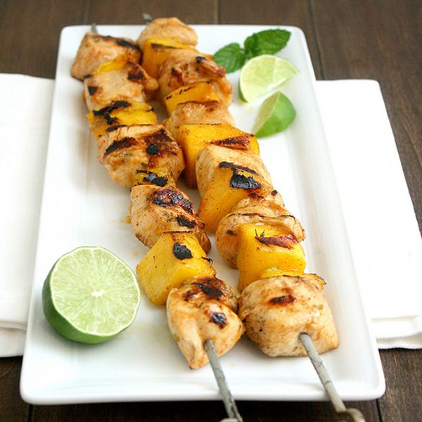 Recipes Rum Glazed Pineapple Mango And Chicken Kebabs Food