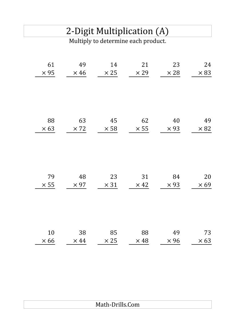 Worksheet Two Digit Multiplication hard multiplication 2 digit problems multiplying a number by 2
