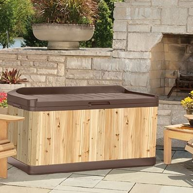 Suncast Hybrid Deck Box With Built In Seat Suncast Extra Large Hybrid Deck Box Combines The Traditional Appearance Of Cedar Wood With The Durabili Plastic Sheds