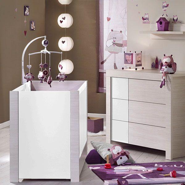 chambre b b duo opale blanc sans motif 2 l ments lit. Black Bedroom Furniture Sets. Home Design Ideas