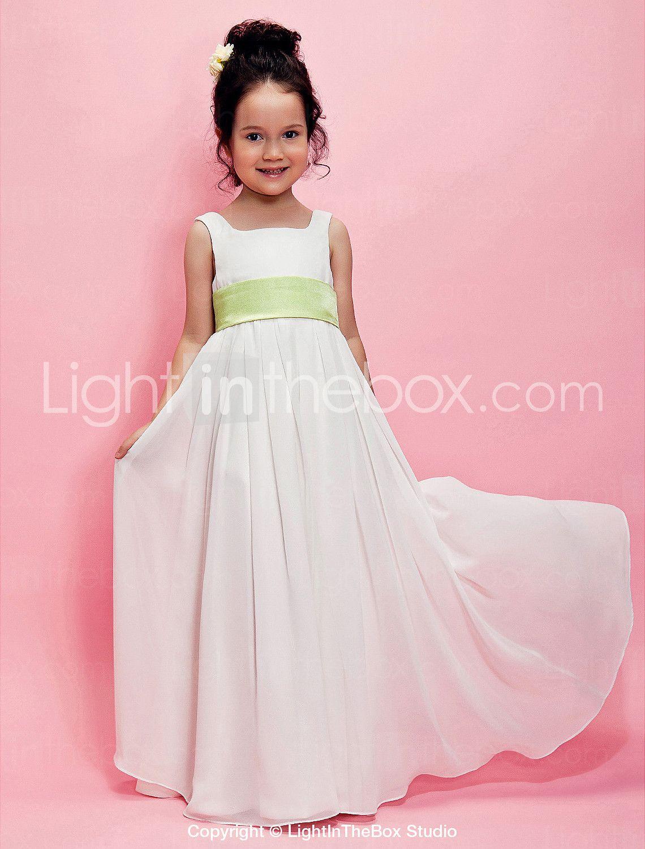 A-Line Princess Floor Length Flower Girl Dress - Chiffon Sleeveless ...