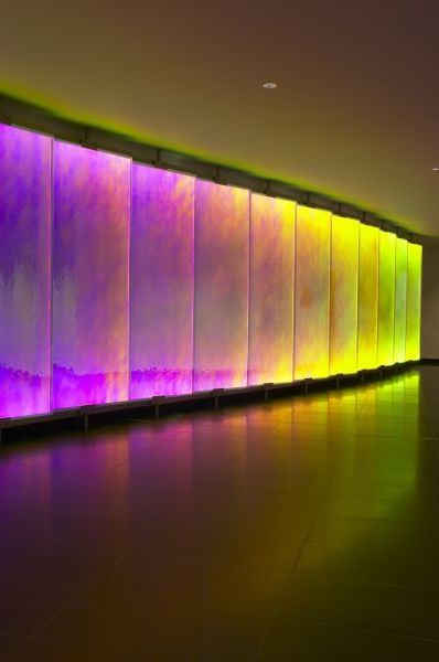 A Stunning Colour Changing Glass Led Wall In A Reception Area
