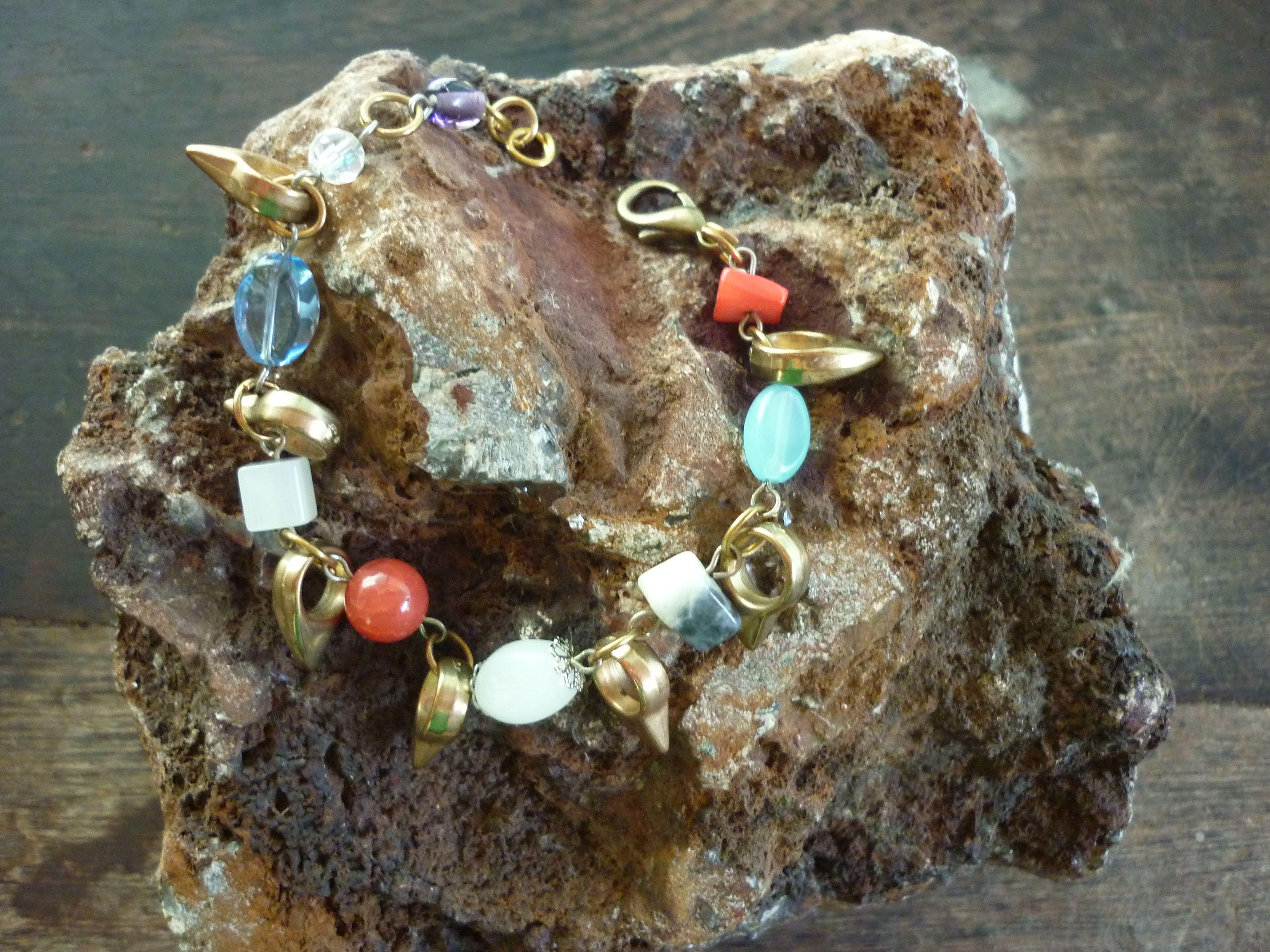 Pulsera de piedras naturales, cristales y alpaca. Narukvica-Bracelet-