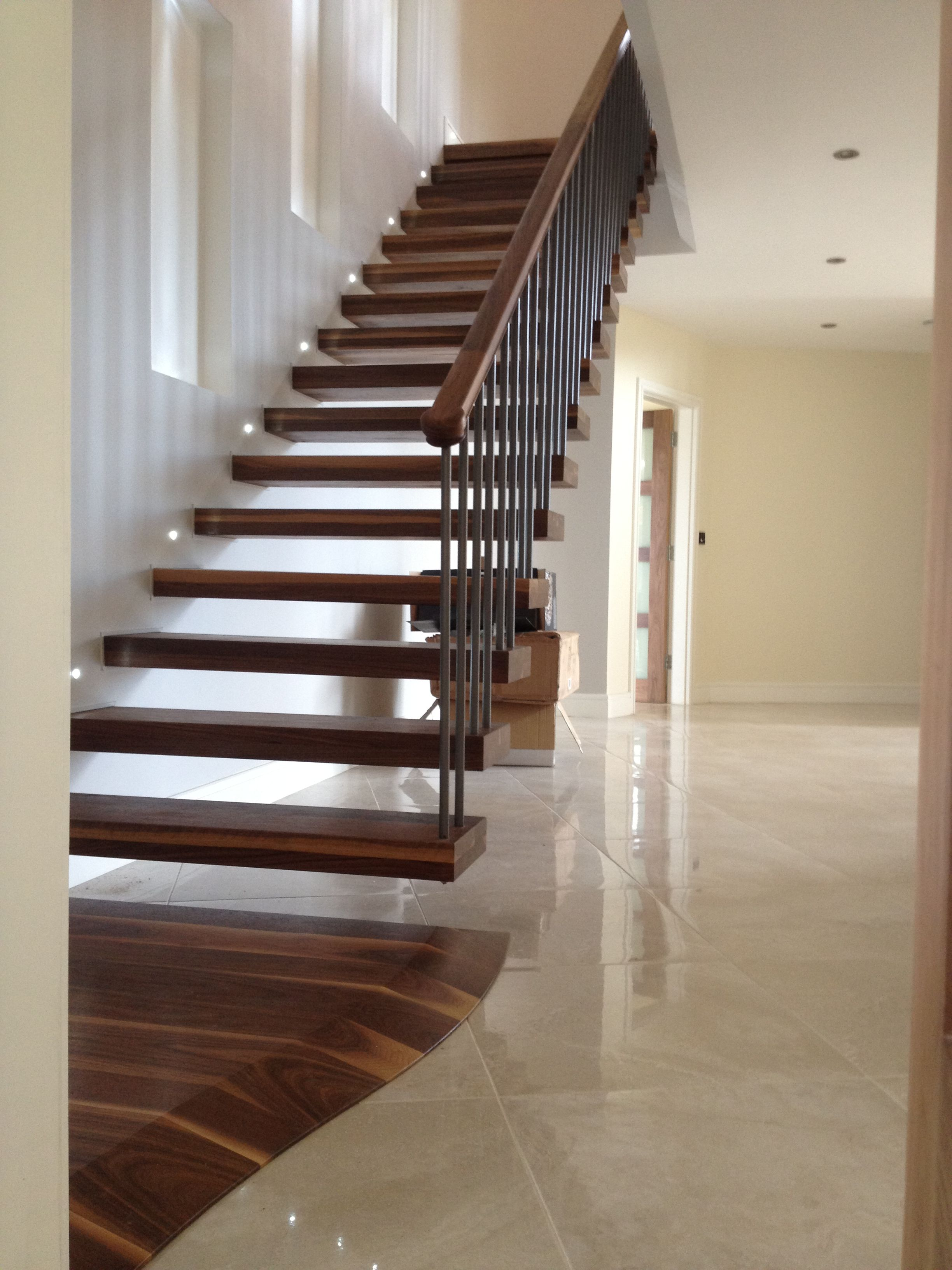 30 Exquisite Floating Stairs Design And Pictures Collection: Mesmerizing  Dark Brown Wooden Floating Stairs With Woods Handle Rails As Decorate In ...