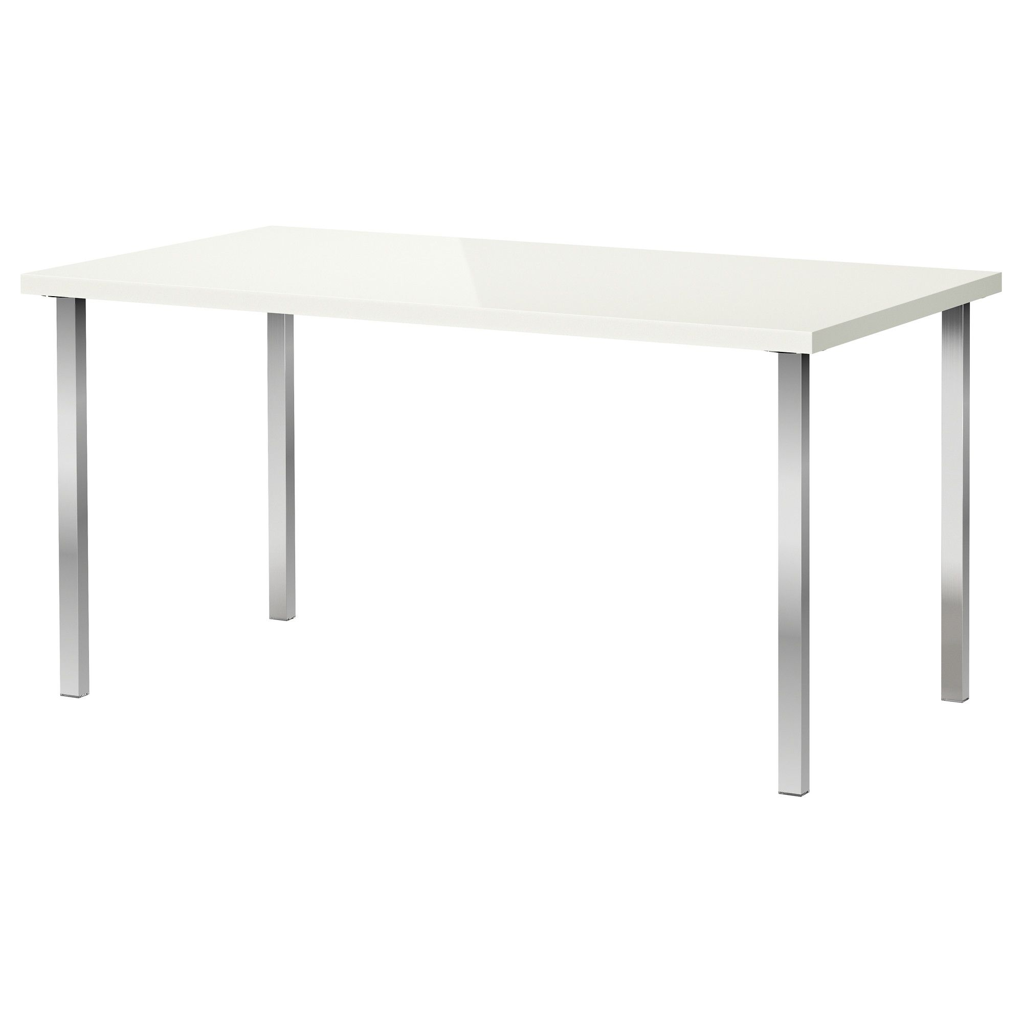 LINNMON/GODVIN Table - high gloss white/chrome plated - IKEA