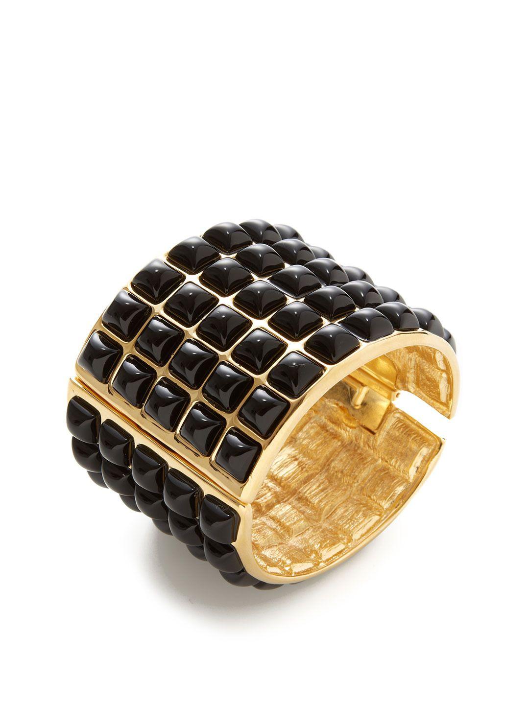 Black pyramid cuff bracelet by kenneth jay lane at gilt littlewing
