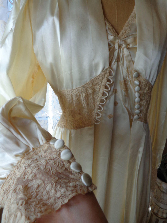 Vintage 1940 S Peignoir Set Nightgown Robe Hollywood Glamour