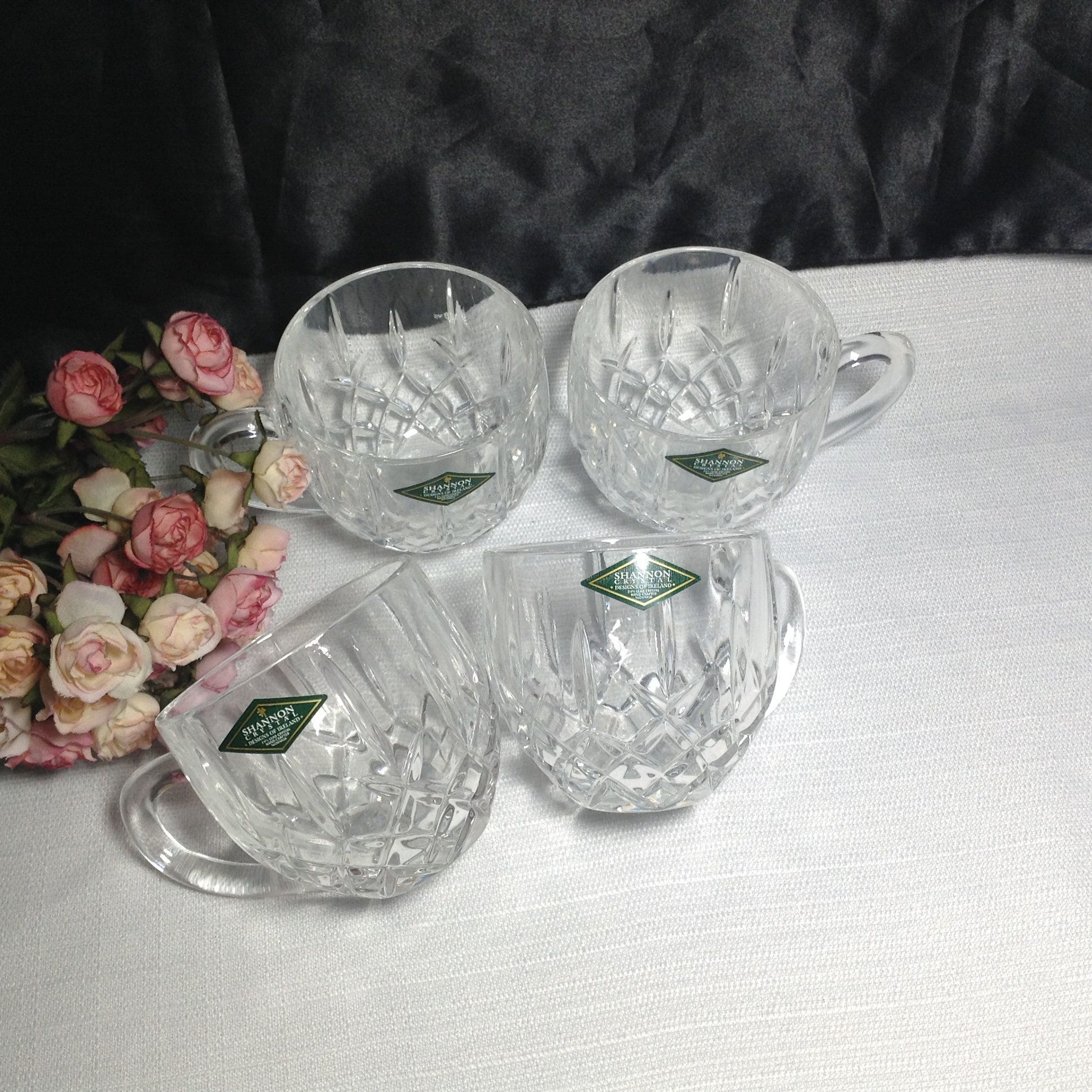4 Shannon Crystal Glass Cups in the Original Gift Box