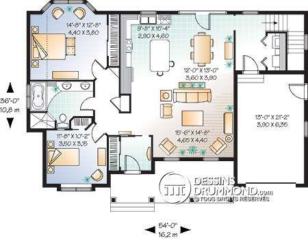 Détail du plan de Maison unifamiliale W3216 projet atelier Pinterest - maison de 100m2 plan