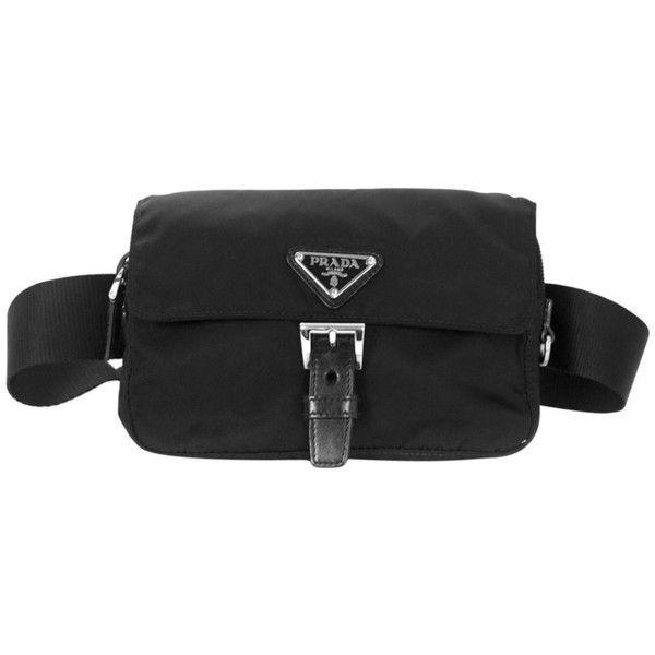 93124d87ff86 Preowned Prada Black Nylon Tessuto Belt Waist Bag ($400) ❤ liked on  Polyvore featuring
