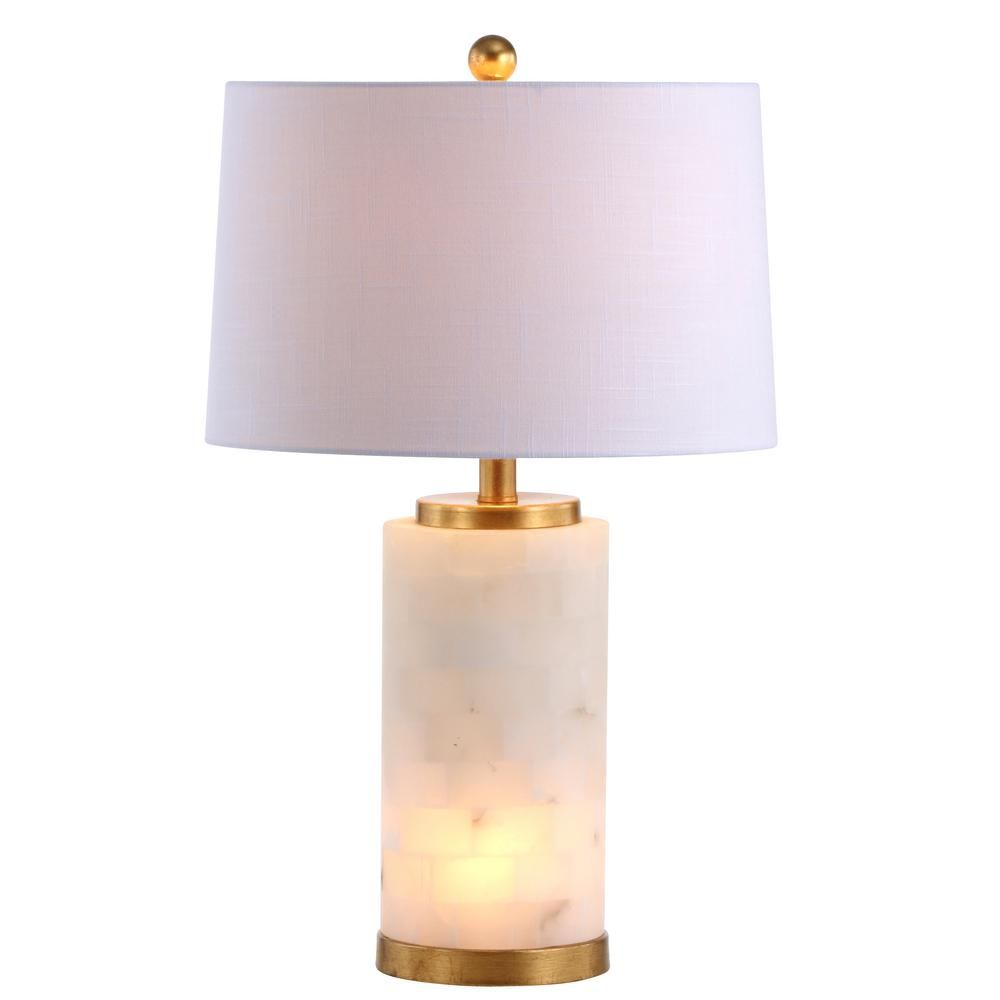 Jonathan Y Eliza 25 5 In Alabaster Led Table Lamp White Gold Leaf