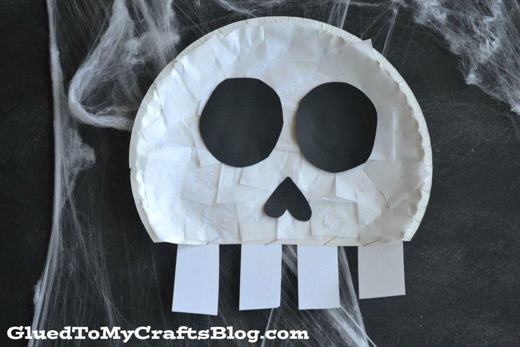 Paper Plate Skull - Kid Craft Halloween ideas