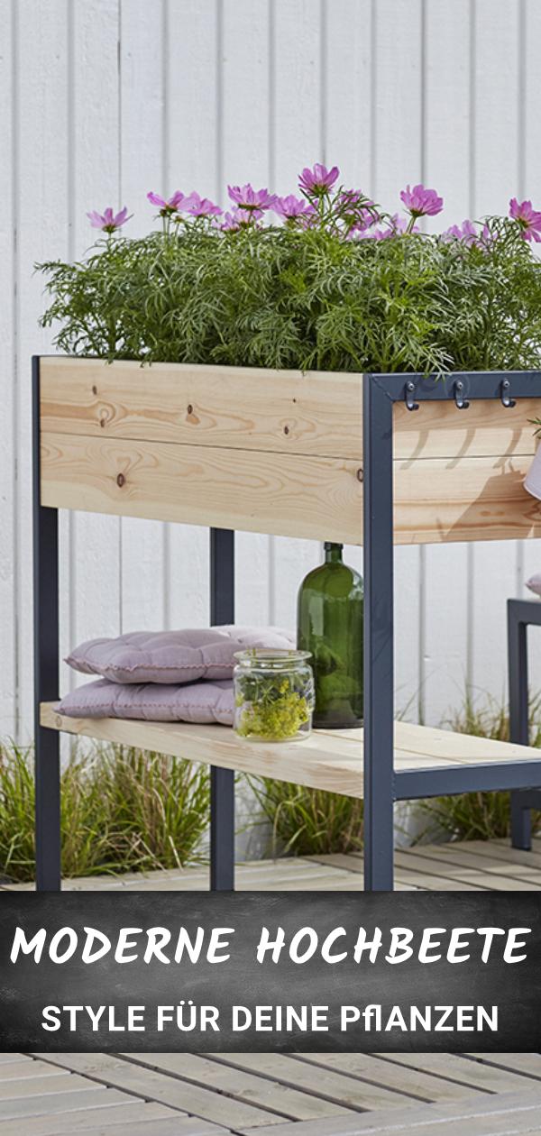 Gestalte deinen Balkon und schaffe Platz für deine Pflanzen. Modernes Hochbeet aus Holz und Metall für einen skandinavischen Look auf deinem Balkon, deiner Terrasse oder in deinem Garten. Ganz unkompliziert online bestellen. #balkongestalten