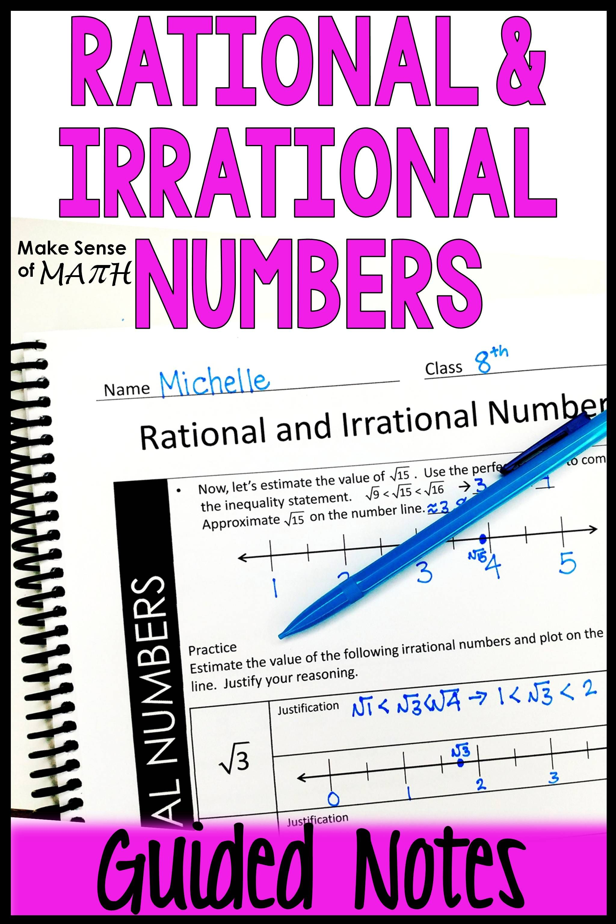 hight resolution of Rational and Irrational Numbers Notes   Irrational numbers