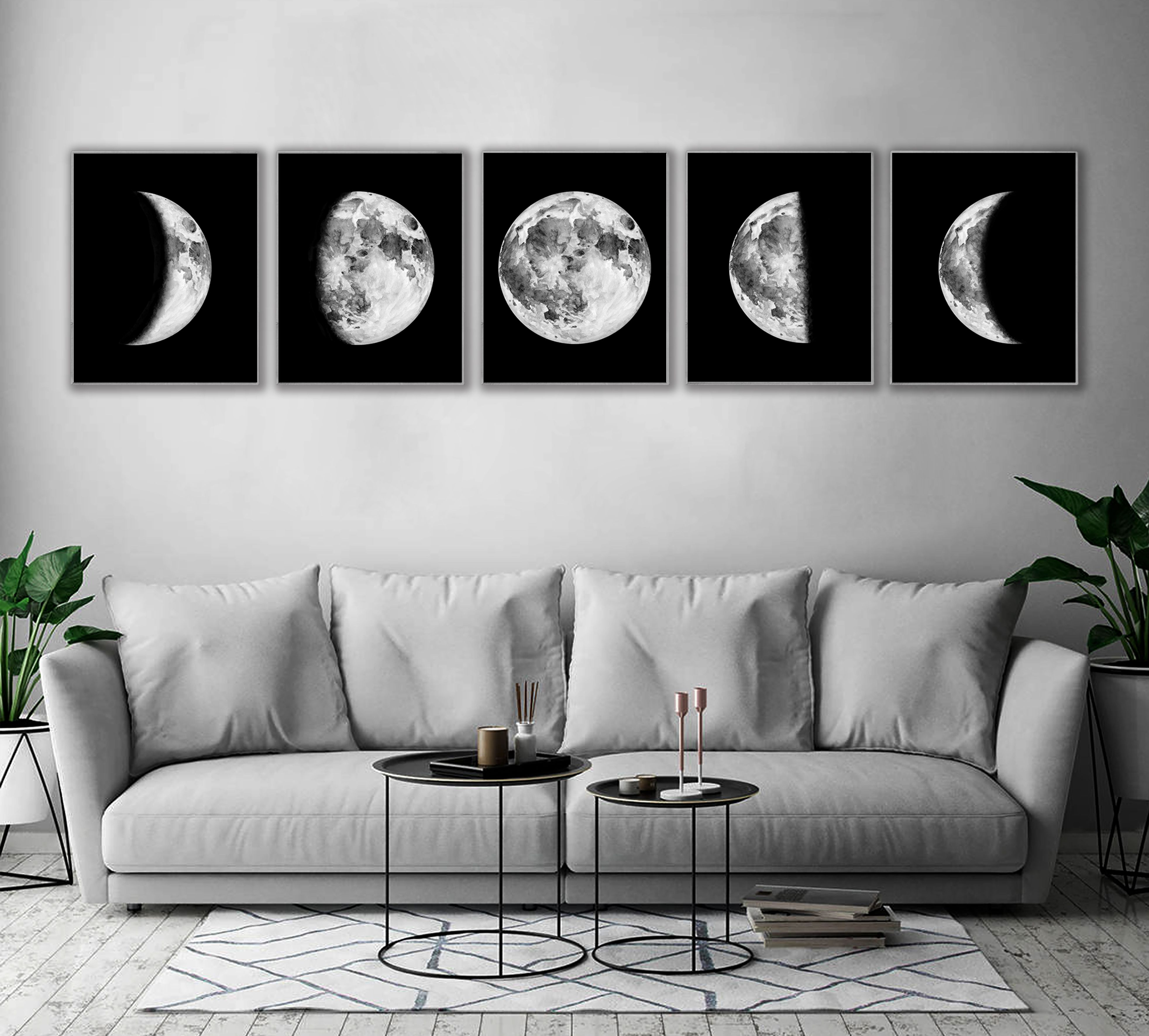 wall art sets for living room clocks moon phases nursery decor boy bedroom 5 digital download printable set phase print large prints