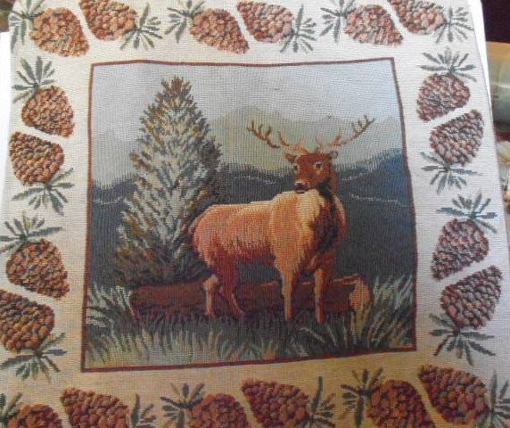 Tapestry elk  Throw Pillow, Stag pillow, Deer pillow, woodland pillow, pine cone by tjmccarty on Etsy