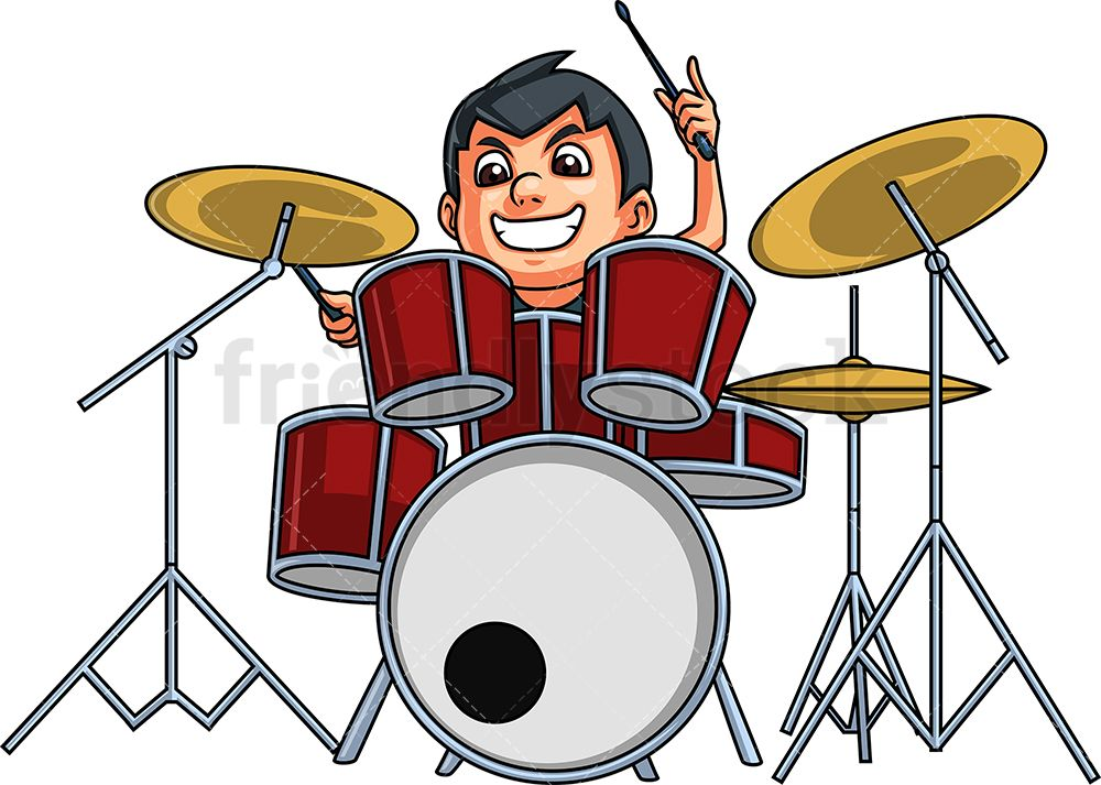 Kid Playing Drums Cartoon Clipart Vector Friendlystock Cartoon Clip Art Drums Cartoon Kids Playing