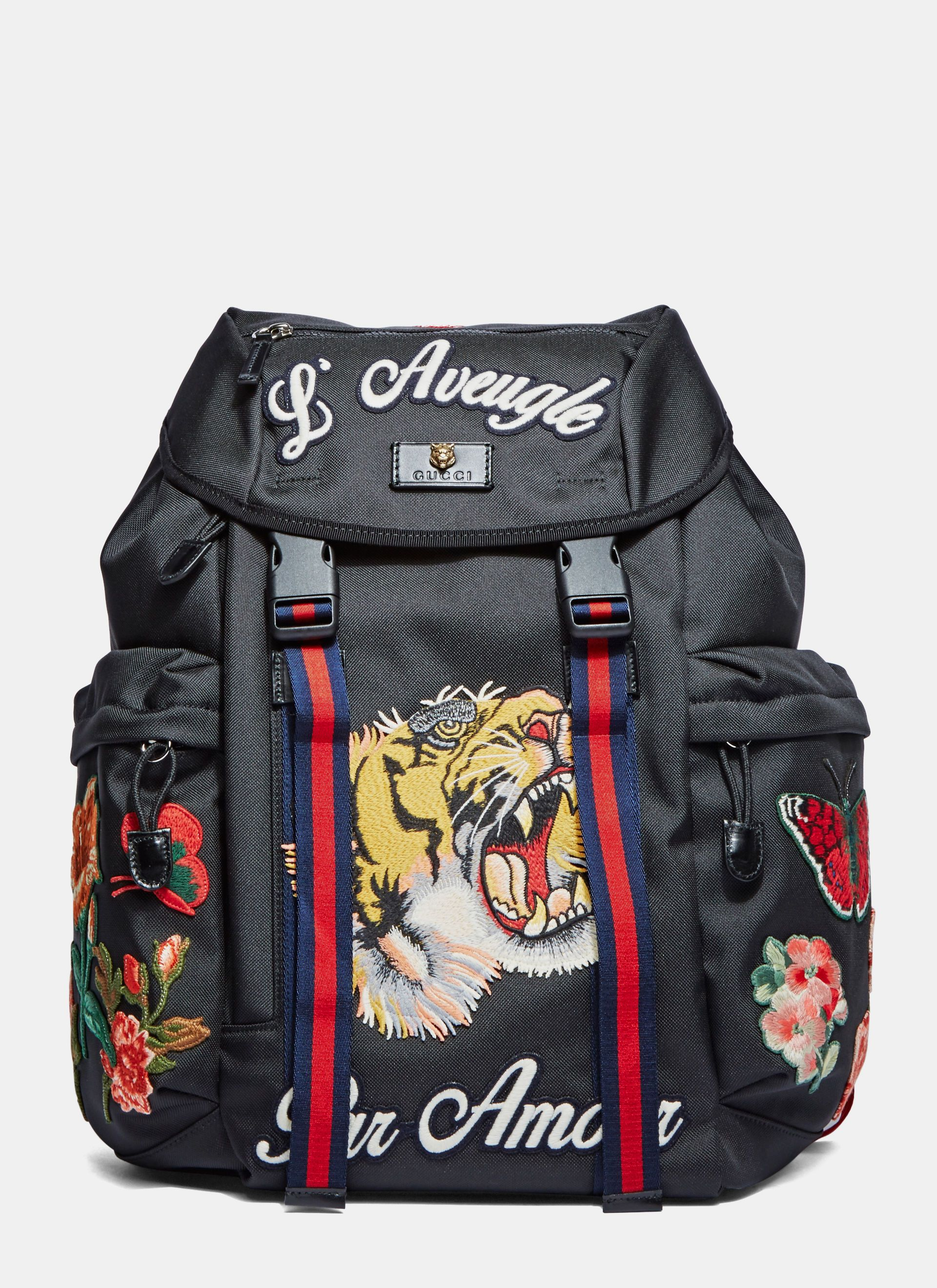 077cefe26a GUCCI Men'S Zaino Embroidered Patch Canvas Backpack In Black. #gucci #bags  #leather #canvas #backpacks #cotton #