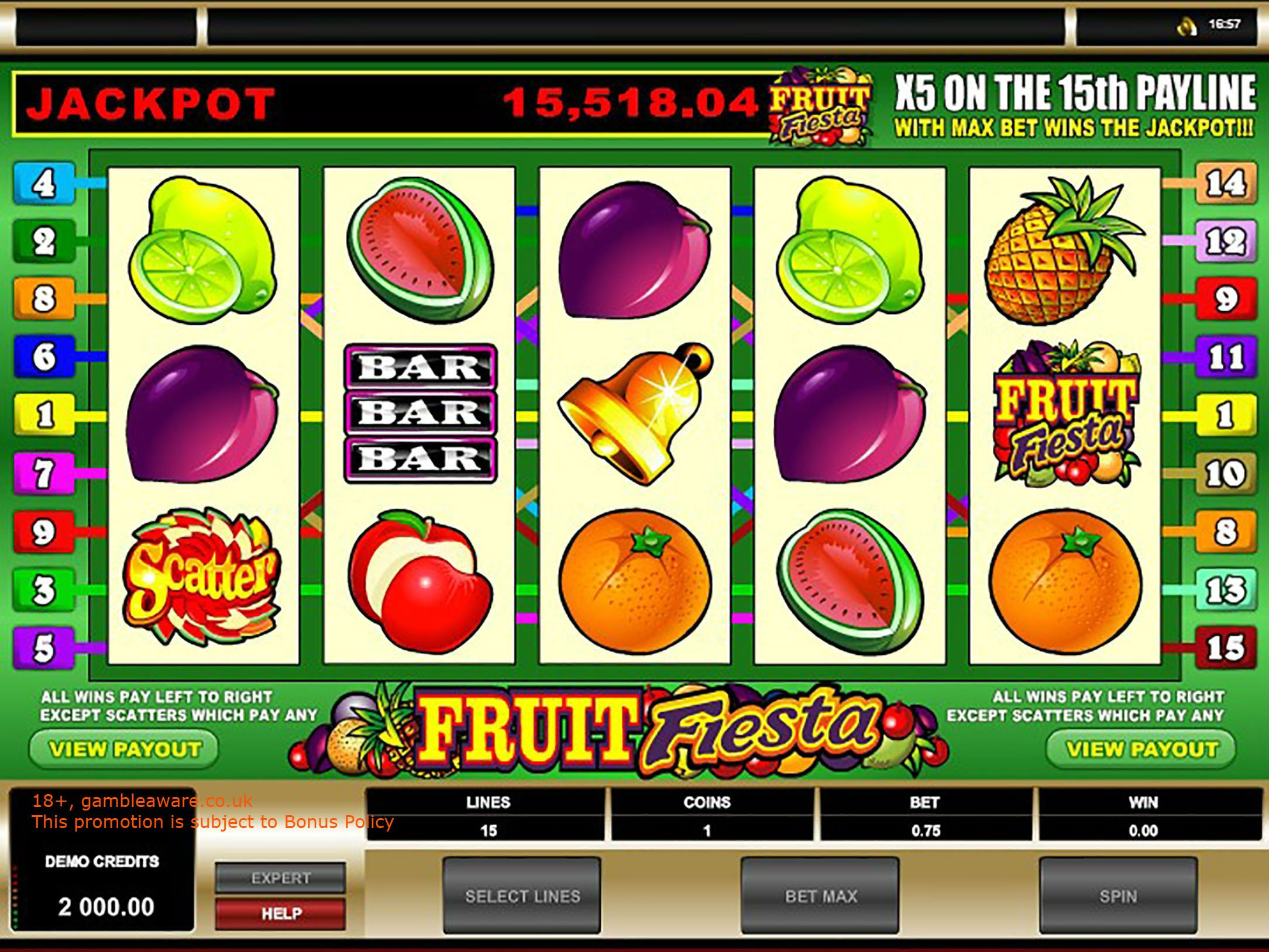Play 5 reeled, fruitthemed, Fruit Fiesta progressive