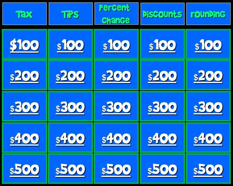 Free Jeopardy game! {covering tax, tips, percent change, discounts ...