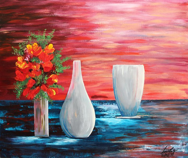 Acrylic MSC 024 - Mario Sergio Calzi - Paintings & Prints Still Life Vases… | ArtPal thumbnail