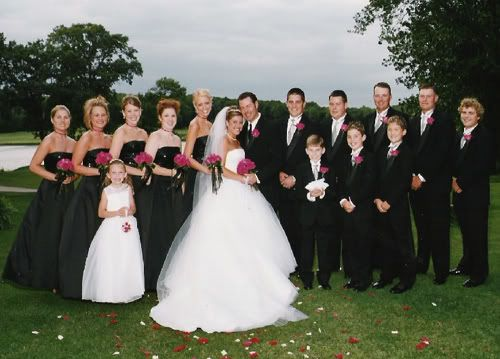 Black And White And Silver Wedding Party