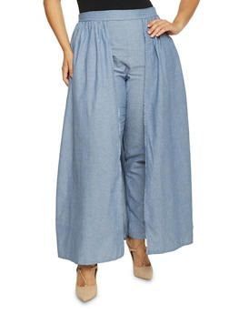 98b0d6de3ac Plus Size Chambray Pants with Skirt Overlay - 1861058933032
